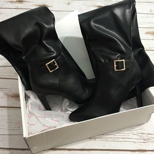 Over The Knee Faux Leather Black Boots